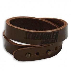 Scrambler  Head Logo Leather Bracelet